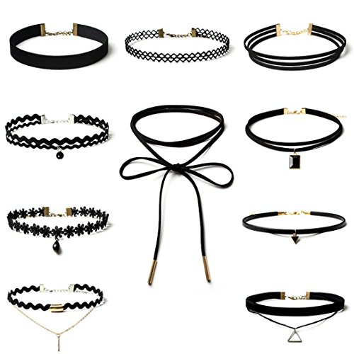 Gotd Choker Necklace Set Stretch Velvet Classic Gothic Tattoo Lace Choker (Pack of 10, Black) Beautiful Ghost Tattoo