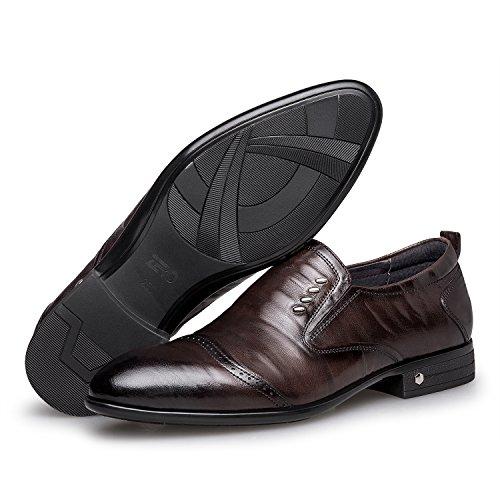 Zro Hombres Formal Slip On Zapatos De Boda De Cuero Moderno Oxford Brown
