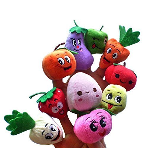 Price comparison product image Acetoy Finger Puppet Set, Fruits and Vegetables Soft Finger Puppets Educational Toys for Baby Story Time, Shows, Playtime, Schools