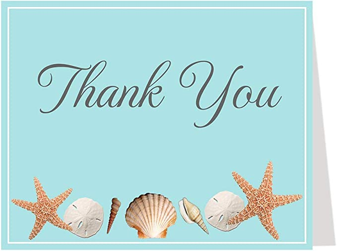 Sandy Beach /& Shells Personalised Party Thank You Cards