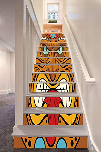 """Tiki Bar Decor 3D Stair Riser Stickers Removable Wall Murals Stickers,Cartoon Style Angry Looking Tiki Warrior Mask Colorful Icon Totem Culture Decorative,for Home Decor 39.3""""x7""""x13PCS,Multicolor"""