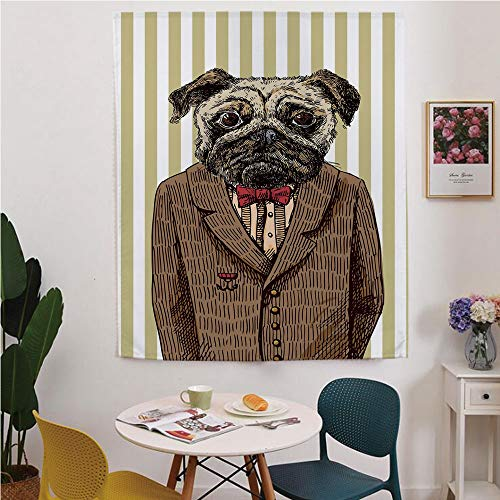 Pug Blackout Window curtain,Free Punching Magic Stickers Curtain,Hand Drawn Sketch of Smart Dressed Dog Jacket Shirt Bow Suit Striped Background Decorative,for Living Room,study, kitchen, dormitory, H