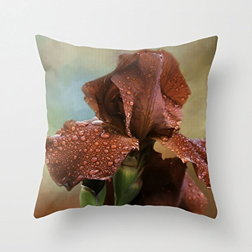 (CqxinFuxi Geometric Throw Pillow Cases Bearded Iris for Sofa/Bed Euro Cushion Covers Decor Floral Pattern for Sofa)