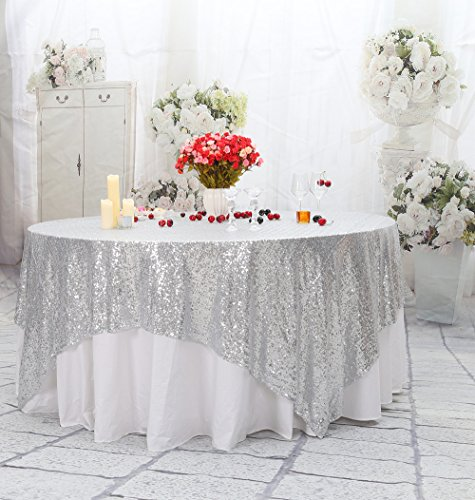 Silver Square Table - PartyDelight Sequin Tablecloth, Sequin Table Overlay, Table Topper, Tree Skirt, Square, 90