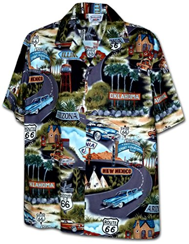 Historic Route 66 Mens Car Shirts Black 2XL(410-3719)