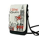 Naoki British Style Linen Mobile Cellphone Pouch Mini Messenger Shoulder Bag Coin Purse Wallet Handbag with Two Pockets for apple iphone 6 6plus samsung galaxy note4 s5 HTC one m8 credit card keys money etc(7 London)