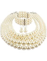 Multi Layer Simulated Pearl Strand Costume Jewelry Sets