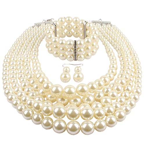 KOSMOS-LI Multi Layer Pearl Strand Necklace Bracelet And Earring Imitate Ivory Pearl Jewelry ()
