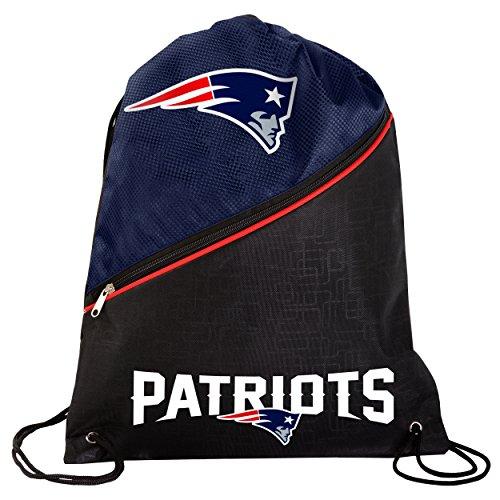 New England Patriots High End Diagonal Zipper Drawstring Backpack Gym Bag
