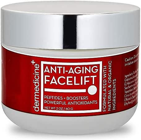 Natural Anti-Aging Facelift Cream for Face   Ultimate Moisturizer w/ Retinol, Peptides, Stem Cells, Hyaluronic Acid, Vitamin E, Grape Seed   Helps Smooth Fine Lines, Wrinkles & Brightens   2 OZ / 60 G