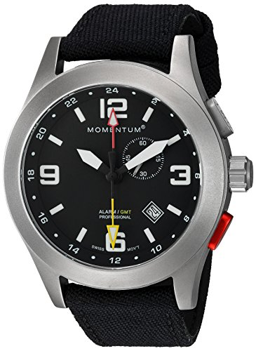 - Momentum Men's Vortech GMT Titanium Swiss-Quartz Watch with Canvas Strap, Black, 22 (Model: 1M-SP58B6B