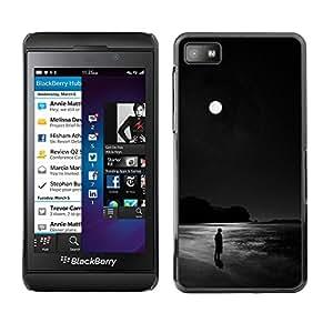 Caucho caso de Shell duro de la cubierta de accesorios de protección BY RAYDREAMMM - Blackberry Z10 - Black Moon Dark Ocean Alone Man