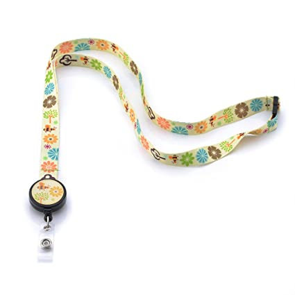 GREKYWIN Cute Shining Garden Lanyard with Retractable Badge Reel ID Card  Name Tag Badge Holder Card Holder
