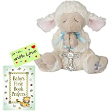 Baptism Christening Gifts for Boys Serenity Lamb w/Crib Cross and Book of Prayers w/Gift tag (Boy Blue)