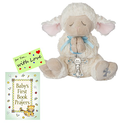 Gifts for Boys Serenity Lamb w/Crib Cross and Book of Prayers w/Gift tag (Boy Blue) ()