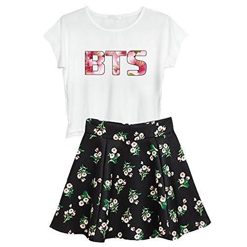 Kpop BTS Printed T-Shirts + Floral Skirts 2PCS Sets V Suga Jimin Outfits