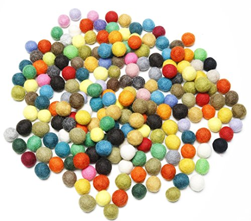 Happy Classy 10 mm Felt Balls 200 pieces Multi Bright Colors Hand Felted In Nepal 100% Wool