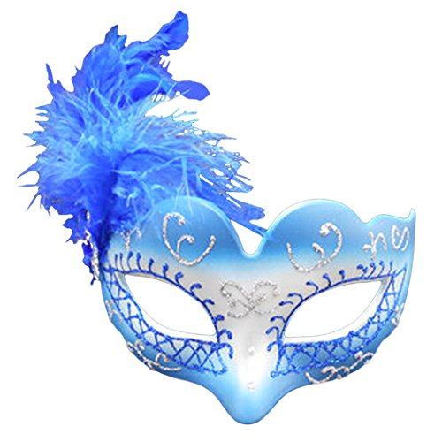 Women Halloween Masquerade Hand-painted Half Face Feather Mask(Blue)