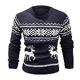 Men's Ugly Christmas Sweater, Shybuy Men Reindeer Crewneck Pullover Christmas Sweater
