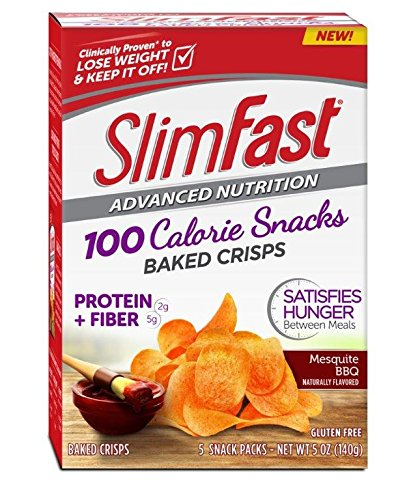Slim Fast Advanced Potato Baked Crisps Snacks, Mesquite BBQ, 5 Count, Net Wt. 5 oz