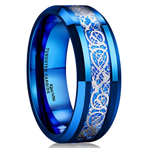 King Will DRAGON Men Women 8mm Tungsten Carbide Ring Blue Carbon Fiber Silver Celtic DRAGON Inlay Wedding Band (9) ()