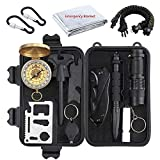 Justech Emergency Survival Kit Mini Survival Gear Kit Outdoor Survival Tool with Thermal Blanket Carabiner Bracelet Fire Starter More for Adventure Outdoors Sports Traveling Hiking
