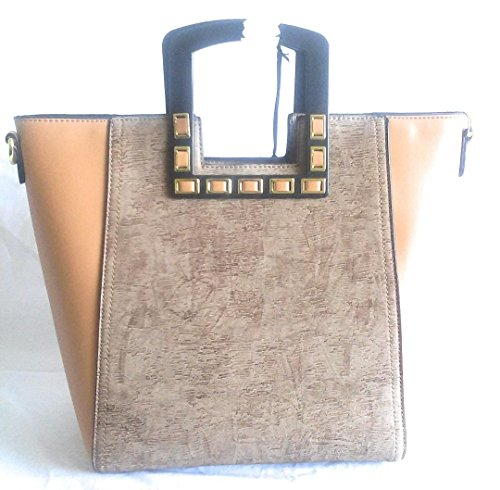 and Brown Gold Trim Womens Suede Purse Leather 1qq5B