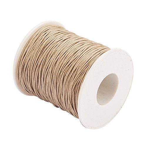 PH PandaHall 1 Roll 1mm 100 Yards Waxed Cotton Cord Thread Beading String for Jewelry Making Crafting Beading Macrame Ginger Yellow ()