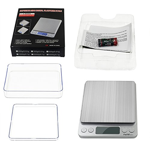 Large Product Image of Prefer Green Digital Kitchen Scale, 3000g 0.01oz/0.1g Pocket Cooking Scale, Mini Food Scale,Jewelry Scale Stainless Steel, (Batteries Included) (3000g/0.1g)