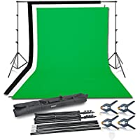Emart Photography Photo Video Studio Background Stand Support Kit with 3 Colors Muslin Backdrop 100% Cotton(Black White Green)