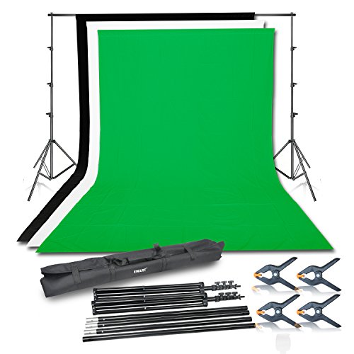Photography Backdrop Kits (Emart Photo Video Studio Background Backdrop Stand Kit, 8.5x10ft Photography Support System with 3 Muslin Backdrops 100% Cotton (Black White Green))