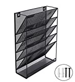 Wall Mounted / Desktop File Organizer Holder- Black Metal Mesh - 5 Tray Organizer Magazine Rack for Office and Study Room