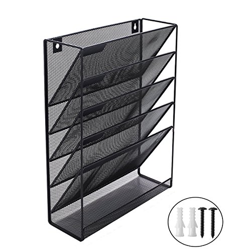 Wall Mounted / Desktop File Organizer Holder- Black Metal Mesh - 5 Tray Organizer Magazine Rack for Office and Study Room by Pro Space