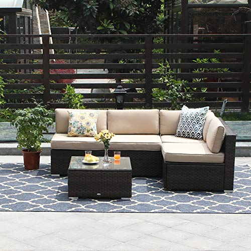 PHI VILLA Outdoor Furniture Wicker Patio Sectional Sofa Rattan Couch Set with Tea Table 5-Piece,Beige