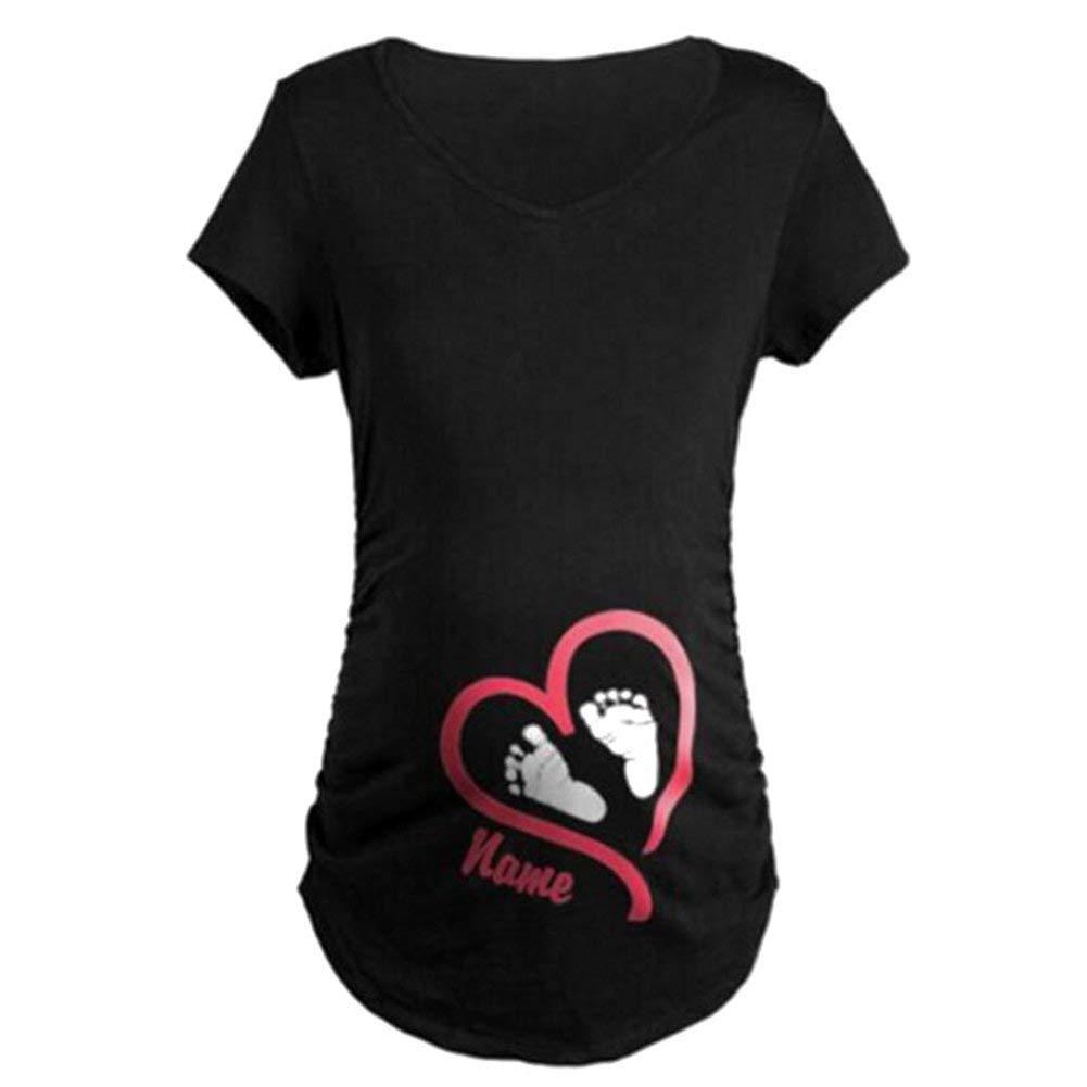 Huixin Schwangerschaftsshirt Lustige Witzige Umstandsmode Mit Umstandsshirt Sweatshirt Elegante Motiv F/ür Die Schwangerschaft Kurzarm