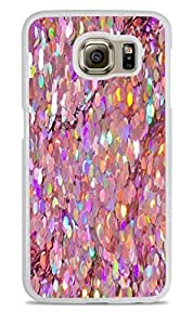 Holographic Pink Sequins White Hardshell Case for Samsung Galaxy S6 EDGE