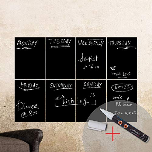 Vinyl Removable Wall Stickers Mural Decal 8 Rectangles White Liquid Chalk Board for Living Room Bedroom Office ()