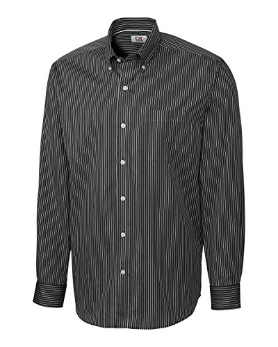 Cutter & Buck Men's Big and Tall Long Sleeve Epic Easy Care Pin-Stripe, Black/White, 2X/Tall