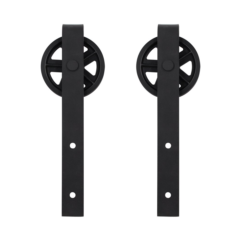 HomeDeco Antique Rustic Style Sliding Aluminum Barn Door Hardware Black Steel Rollers Hanger (Big Wheel-Style)
