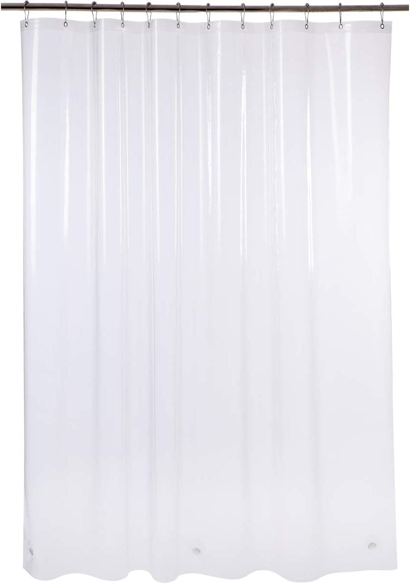 """AmazerBath Plastic Shower Curtain, 72"""" W X 96"""" H EVA 8G Thick Bathroom Shower Curtains with Heavy Duty Clear Stones and 12 Rust-Resistant Grommet Holes Without Odor-Clear"""