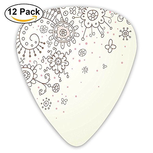 Newfood Ss Hand Drawn Flower Pattern In Doodle Style Soft Colors Baby Kids Girls Guitar Picks 12/Pack -
