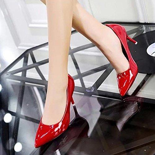 Sikye Dames Bureau Chaussures De Travail, Élégant Pu Slip Sur Robe Chaussure Classique Fermé Orteils Talon Haut Pompes Rouge
