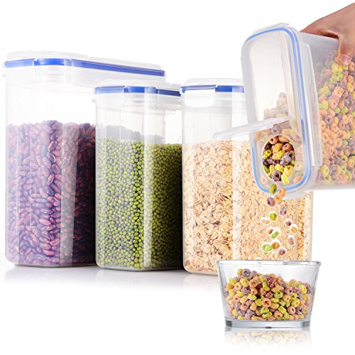 ME.FAN Cereal Storage Containers [Set of 4] Air-Tight Food Storage Containers 4L(135oz) 2.5L(85oz) - Large Storage Keeper for Cereal, Rice, Flour, Beans, Sugar - BPA Free Clear Plastic with Blue Lid