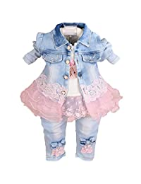 YAO Baby Girls Denim Clothing Sets 3 Pieces Sets T Shirt Denim Jacket and Jeans
