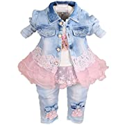 YAO Baby Girls Denim Clothing Sets 3 Pieces Sets T Shirt Denim Jacket and Jeans (6-12months)
