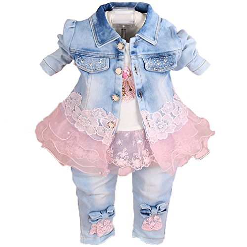 Girls Pink Denim (YAO Baby Girls Denim Clothing Sets 3 Pieces Sets T Shirt Denim Jacket and Jeans (1-2Years))