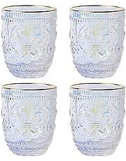MISIMPO Iris FLower Drinking Glasses Set, Embossed Romantic Water Glasses Set