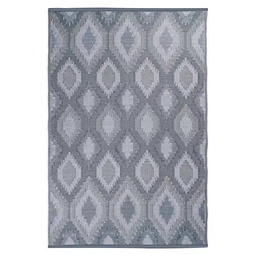 DII Contemporary Indoor/Outdoor Lightweight Reversible Fade Resistant Area Rug, Great For Patio, Deck, Backyard, Picnic, Beach, Camping, BBQ, & Everyday Use - 4 x 6', Gray Ikat White Indoor Outdoor Rugs