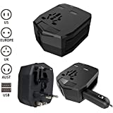 WanEway (2.5A Dual USB Port with Car Charger,1 Pack) Universal AC International Armour Travel Power Charger Wall Adapter Adaptor Plug (US/EU/UK/AU) with 2.5A Dual USB Charging Ports and Car Charger