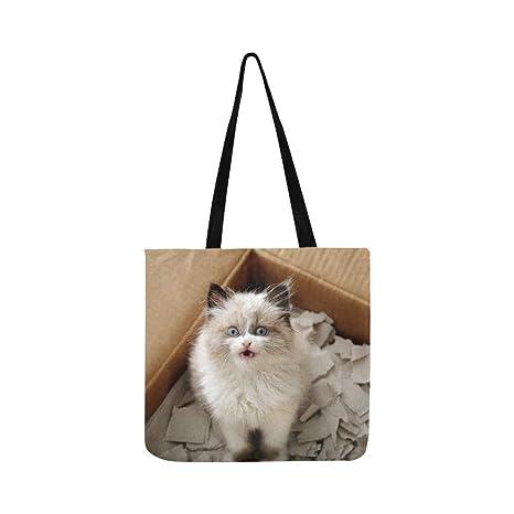 Gato lindo en caja de cartón Bolso de mano Bolso de hombro ...